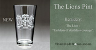 The Lions Pint - Irish coat of arms pint glasses - Deep sand etched.