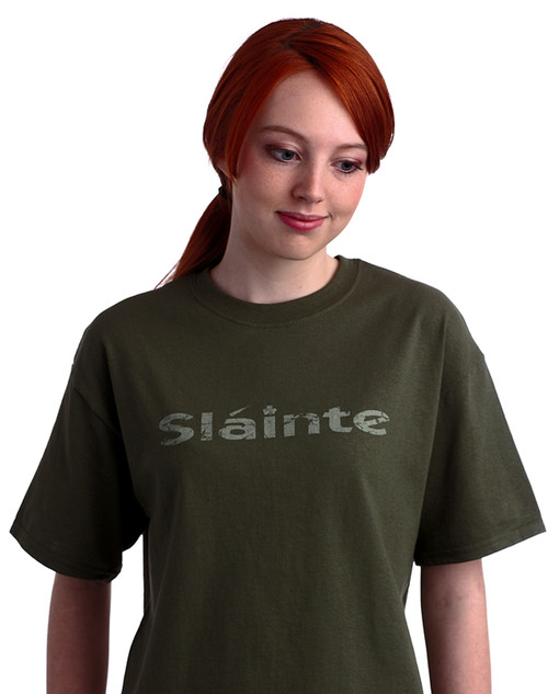 Irish Sláinte Tee Shirt in Summer Green