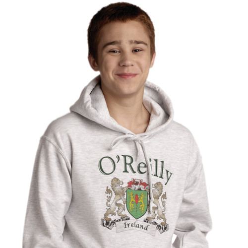 Irish Coat of Arms Hooded Sweatshirt Ash | Irish Rose Gifts