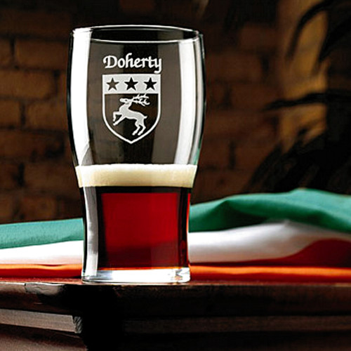 Irish Coat of Arms Tavern Glasses | Irish Rose Gifts