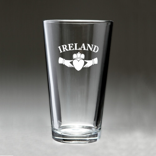 Ireland Claddagh Pint Glasses - Set of 4 (Sand Etched)