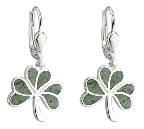 Shamrock Earrings with Connemara Marble - Sterling Silver