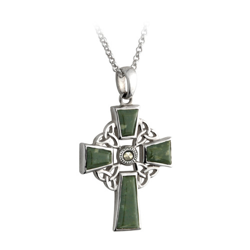 Celtic Cross Necklace with Connemara Marble & Marcasite Stone - Sterling Silver by Solvar