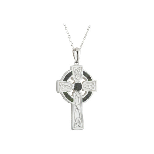 Connemara Marble Cross Necklace - Sterling Silver