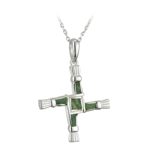 St Brigid's Cross Necklace Connemara Marble - Sterling Silver