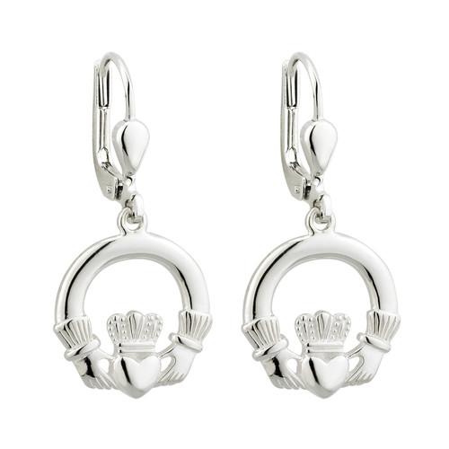 Claddagh Earrings Drop Style- Sterling Silver- by Solvar Jewelry Ireland