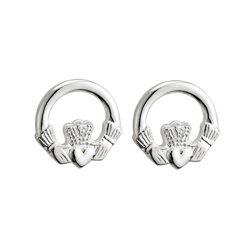 Small Claddagh Earrings Stud Style - Sterling Silver- by Solvar Jewelry Ireland