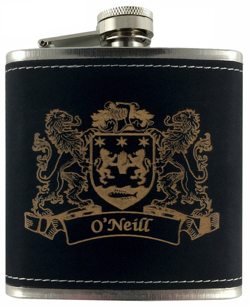 Irish Coat of Arms Black Leather Flask