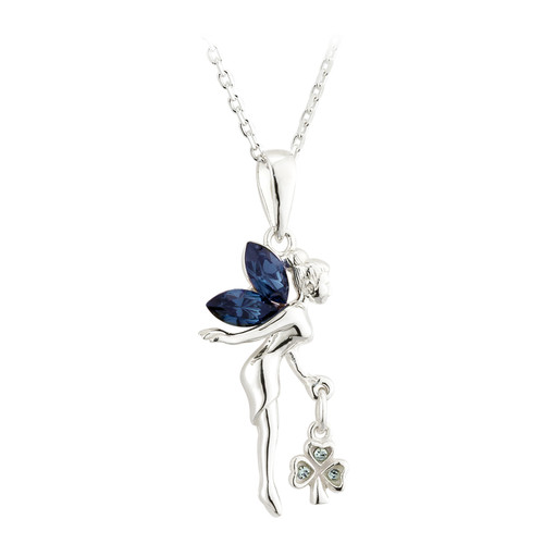 Crystal Fairy & Irish Shamrock Necklace - Sterling Silver