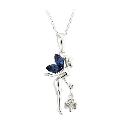 Crystal Fairy & Irish Shamrock Necklace - Sterling Silver