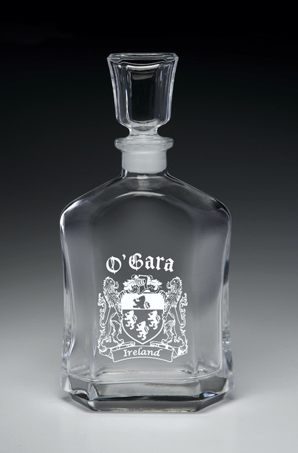 Whiskey Decanter with Coat of Arms - (Sand Etched)