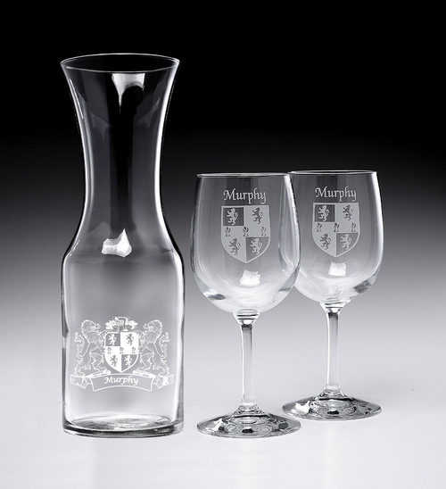 Wine Decanter Set with Coats of Arms & 2 Wine Glasses- (Sand Etched)
