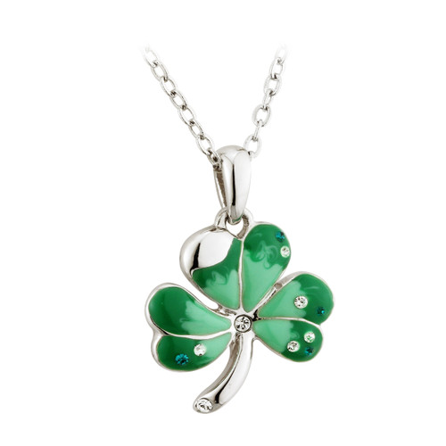 Green Enamel & Crystal Shamrock Pendant Necklace - by Solvar Jewelry