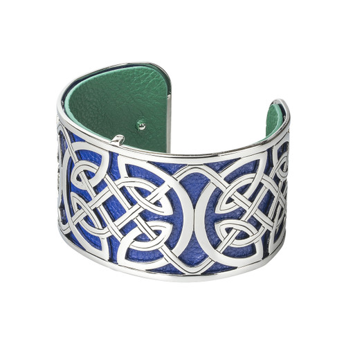 Rhodium & Leather Wide Celtic Bangle - Solvar Jewelry Made in Ireland