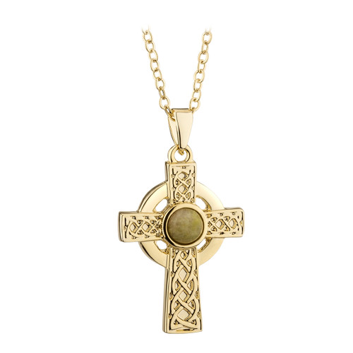 Gold Plated & Connemara Marble Celtic Cross Pendant - Solvar Jewelry Made in Ireland