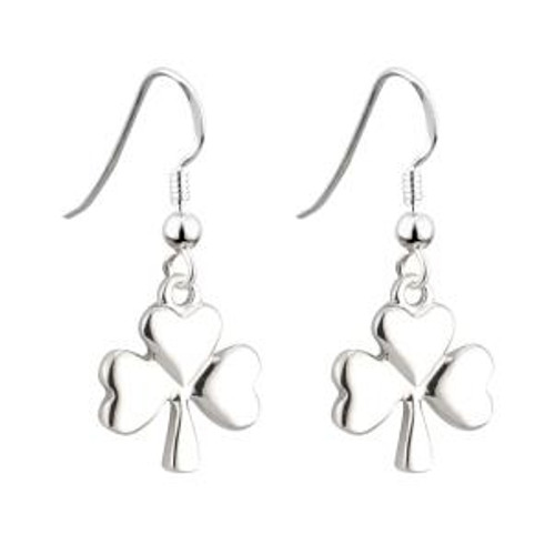 Lucky Shamrock Drop Earrings - Rhodium Plated Solvar Jewelry Made in Ireland (S33329)
