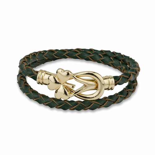 Shamrock Leather Wrap Bracelet - Gold Plated Solvar Jewelry Made in Dublin, Ireland. (S5874)