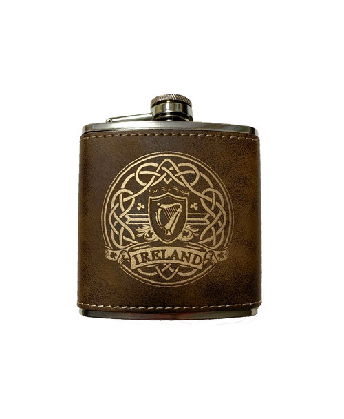 Harp Rustic Brown Leather Flask (9215) - Front