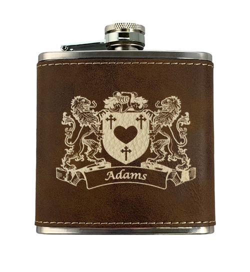 Irish Coat of Arms Leather Flask - Rustic Brown