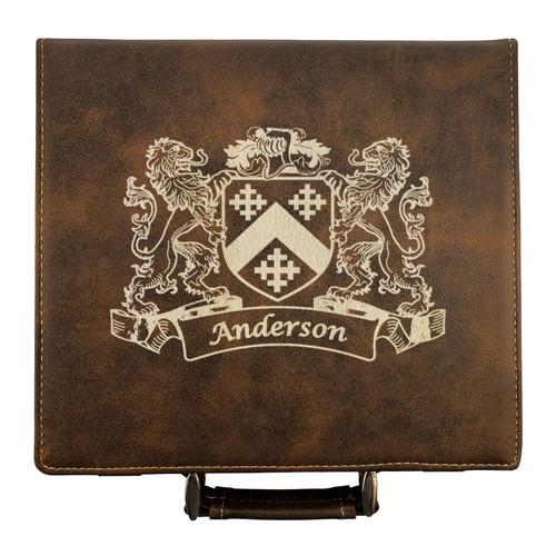 Irish Coat of Arms Leather Poker Set - Rustic Brown