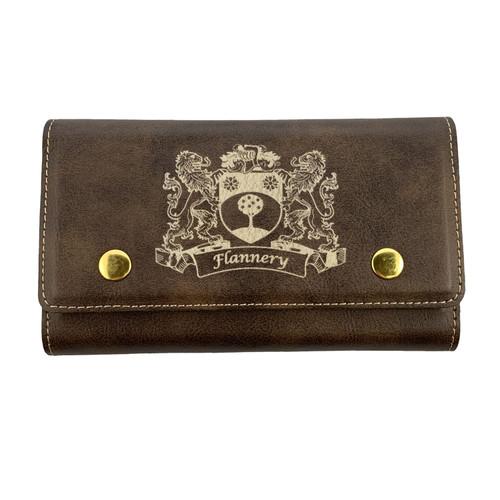 Irish Coat of Arms Leather Card & Dice Set - Rustic Brown