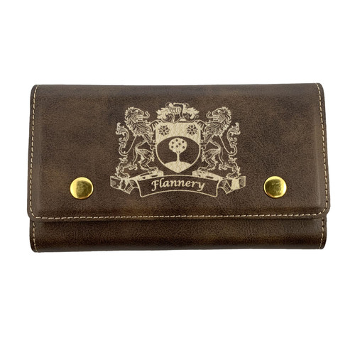 Irish Coat of Arms Leather Card & Dice Set - Rustic Brown