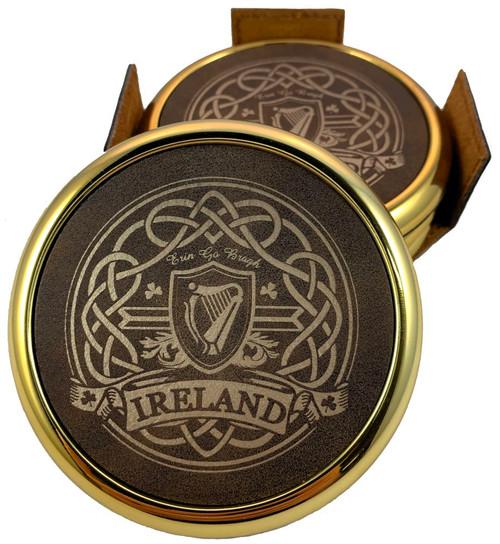 Ireland Harp & Celtic Knot Laser Engraved Coasters (set of 4)