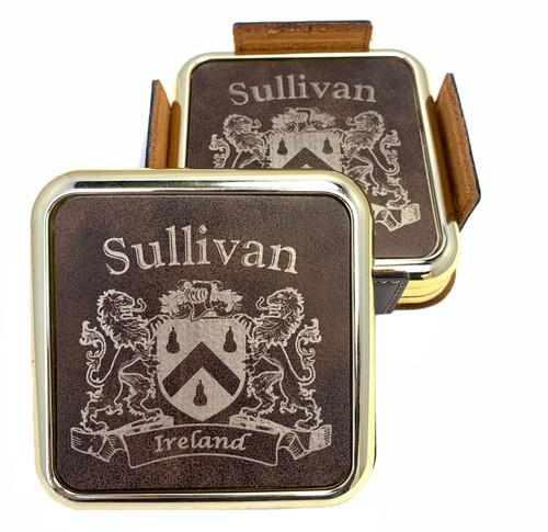 Irish Coat of Arms Rustic Brown Coasters - Set of 4