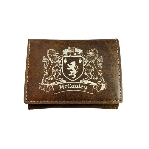 Irish Coat of Arms Rustic Leather Wallet - Trifold