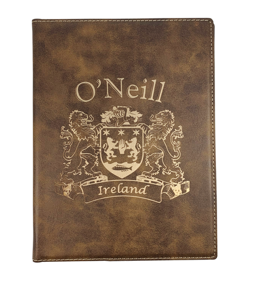 Irish Coat of Arms Faux Leather Portfolio - Rustic Brown Cover