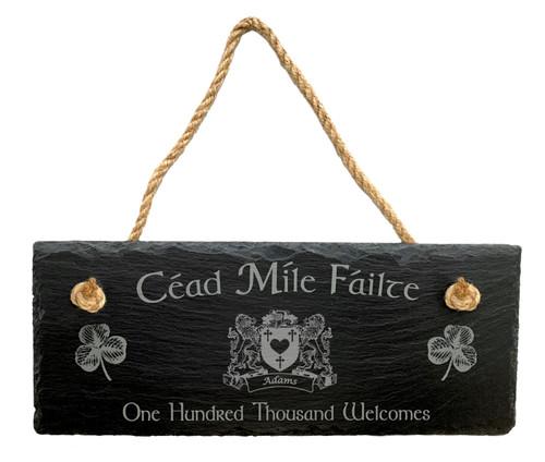 Irish Coat of Arms Slate Plaque Blessing Céad Míle Fáilte