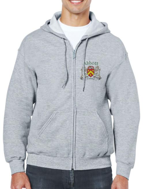 Irish Coat of Arms Full Zip Hooded Sweatshirt in Ash
