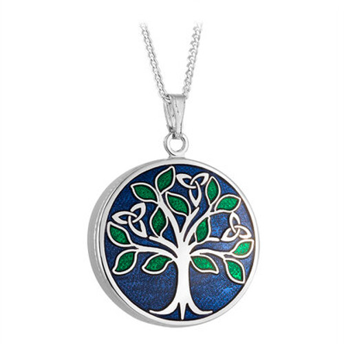 Solvar Rhodium Enamel Tree of Life Pendant