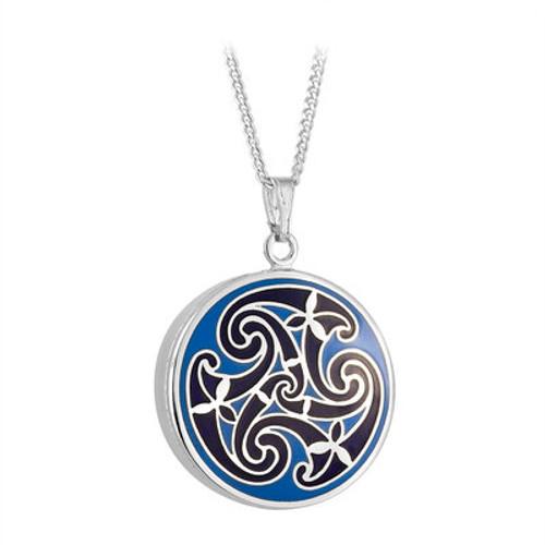 Solvar Rhodium Blue Enamel Celtic Knot Pendant