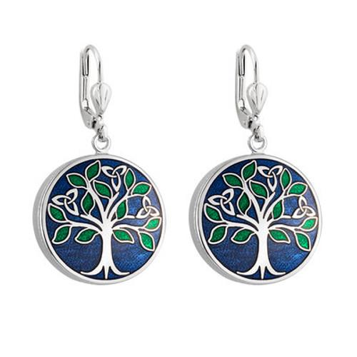 Solvar Rhodium Enamel Tree of Life Earrings