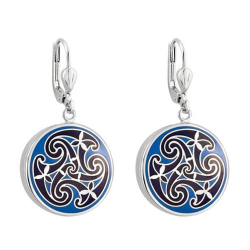 Solvar Rhodium Blue Enamel Celtic Knot Earrings