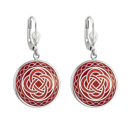 Solvar Rhodium Red Enamel Celtic Knot Earrings