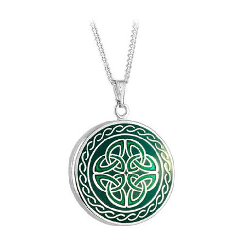Solvar Rhodium Green Enamel Four Trinity Knots Pendant