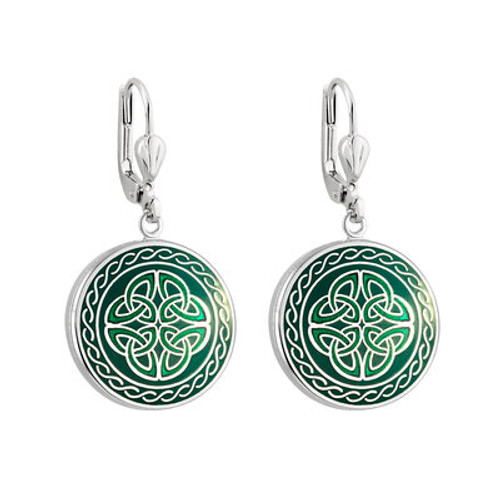 Solvar Rhodium Green Enamel Four Trinity Knots Earrings