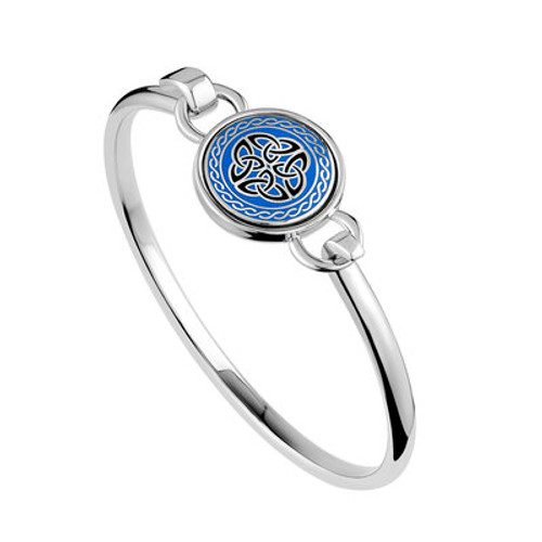 Solvar Rhodium Blue Enamel Four Trinity Knots Bangle