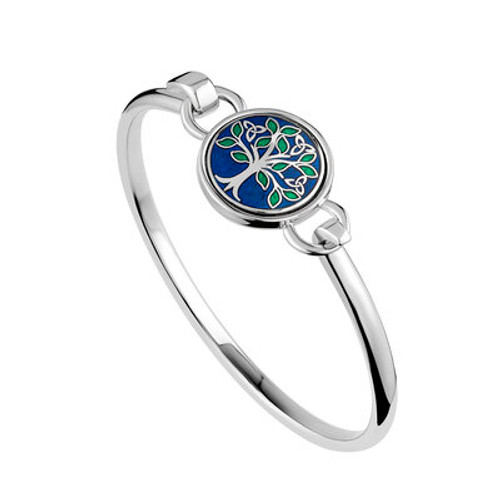 Solvar Rhodium Blue Enamel Tree of Life Bangle