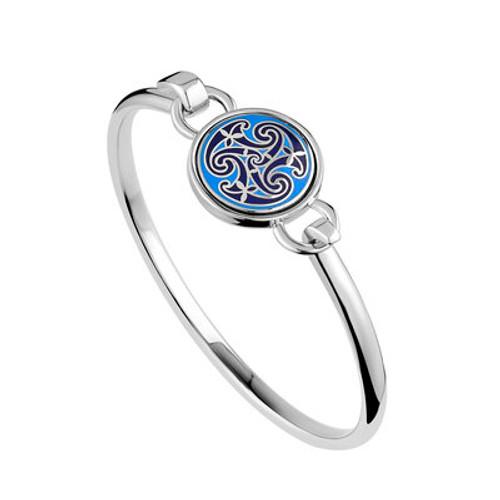 Solvar Blue Enamel Celtic Knot Bangle