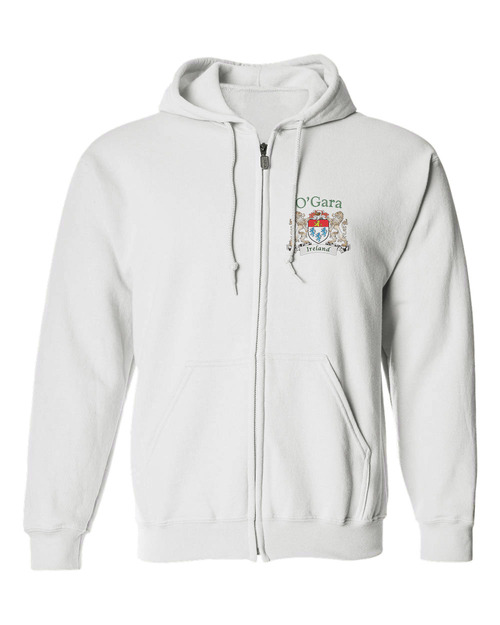 Irish Coat of Arms Full-Zip Hooded Sweatshirt - White
