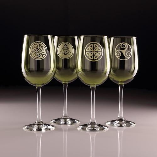 Green Celtic Knot Wine Glasses - Set of 4