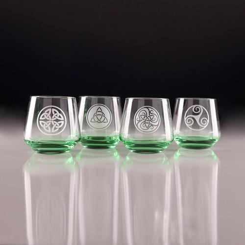 Green Celtic Knot Tumbler Glasses - Set of 4