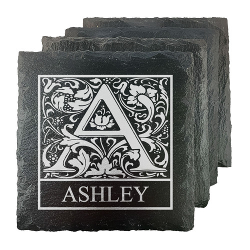 Personalized Initial Slate Coasters - Set of 4