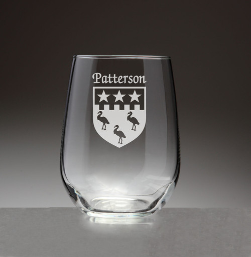 """""""Patterson"""" - Irish Coat of Arms Stemless Wine Glasses - Set of 4 (Sand Etched)"""