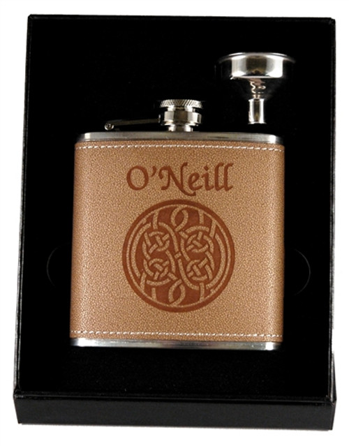 Celtic Knot Leather Flask & Funnel Set | Irish Rose Gifts