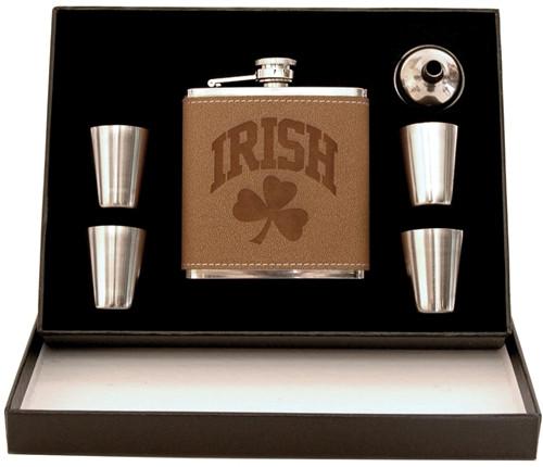 Shamrock 5-Piece Leather Flask Box Set | Irish Rose Gifts