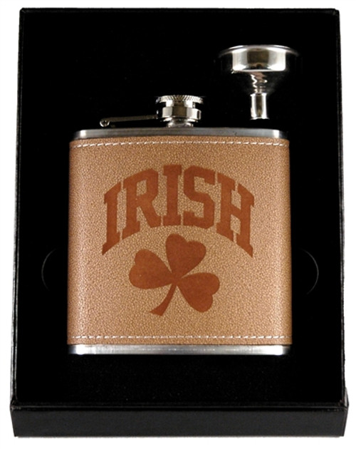 Irish Leather Flask & Funnel Box Set | Irish Rose Gifts
